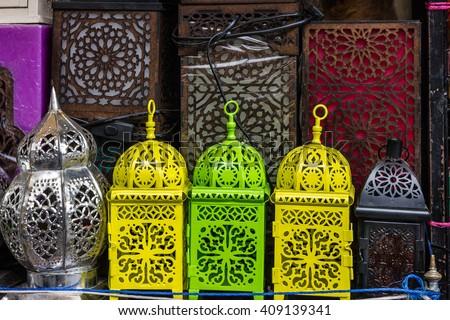 arabic souvenirs, lamps. Moroccan oriental traditional souvenirs - stock photo