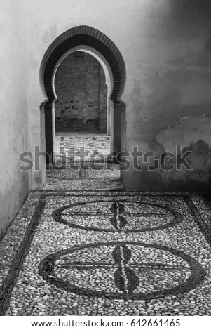 Arabic Style Architectural Doorway and Decorated Floor Light and Shadow Black and White