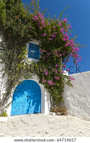 Arabic style building, white with blue