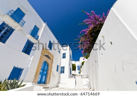 Arabic style building, white with blue - stock photo