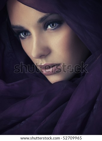 Arabic style portrait of a young beauty - stock photo