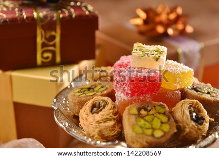 Arabic sweet with gift boxes - stock photo