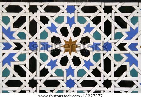 Arabic Tile Detail in the Alcazar in Sevilla, Spain - stock photo