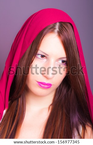 arabic woman with a veil - stock photo