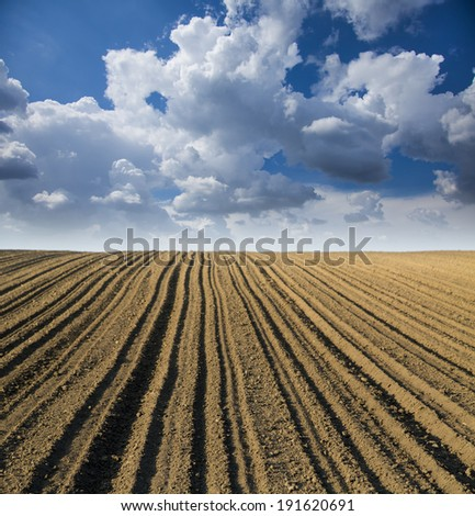 Arable land over blue sky