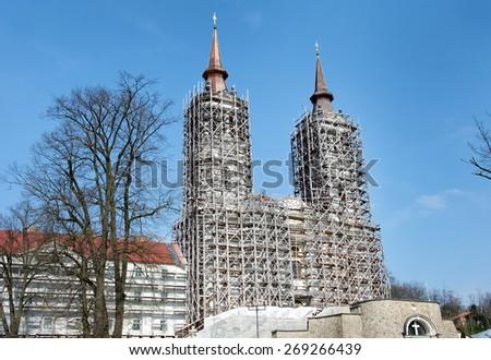 Arad ,Romania.Old catholic monastery under reconstruction. - stock photo