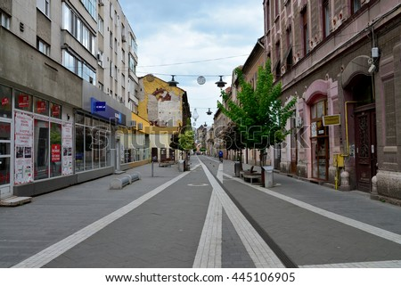 ARAD, ROMANIA - 05.02.2016: old city center street with people