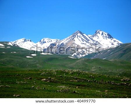 aragats mountain,armenia - stock photo