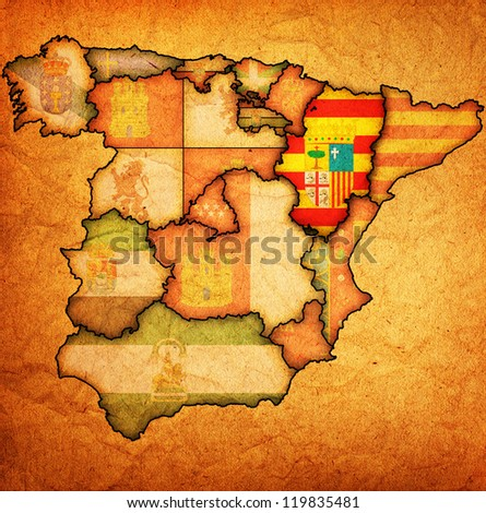 aragon region on administration map of regions of spain with flags and emblems