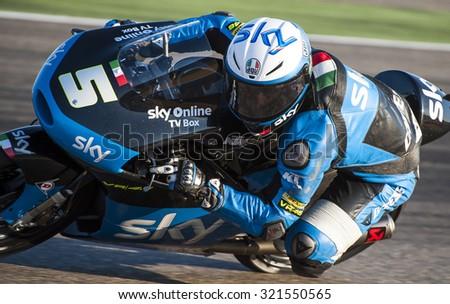 ARAGON, SPAIN - SEPTEMBER 27: Romano Fenati at GP Movistar de Aragon of MotoGP at Motorland Aragon Circuit on September 27, 2015 in  Aragon, Spain. - stock photo