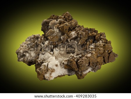 Aragonite needles on calcite, on brecciated dolomite from the Tecoma mining district, Box Elder county, Utah - stock photo