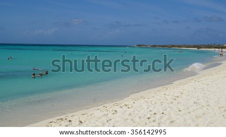 ARASHI, ARUBA - NOV 26: Arashi Beach in Aruba, as seen on Nov 26, 2015. Arashi is Blue Flag certified, part of a program to promote green behavior and increase eco-awareness on the island.