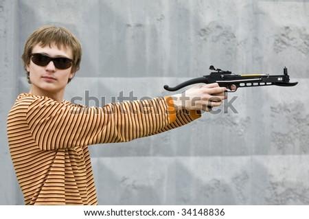 Arbalet sharpshooter looking at camera - stock photo