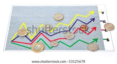 "arbitrary chart (diagram)  ""exchange rate"" on white - stock photo"