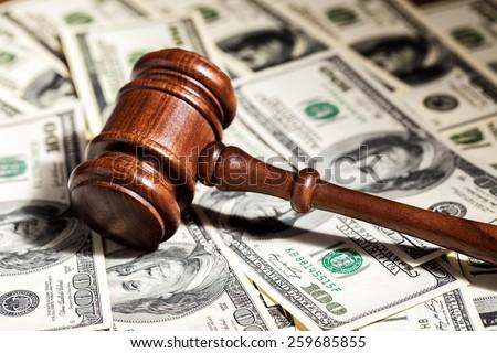 Arbitration, attorney, cash. - stock photo
