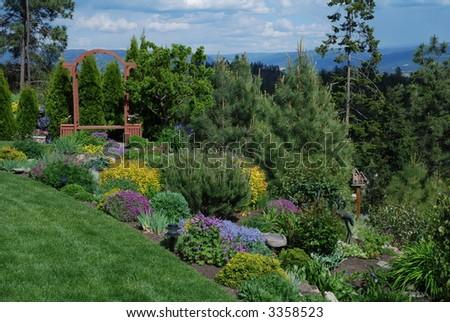Arbor in the Garden - stock photo