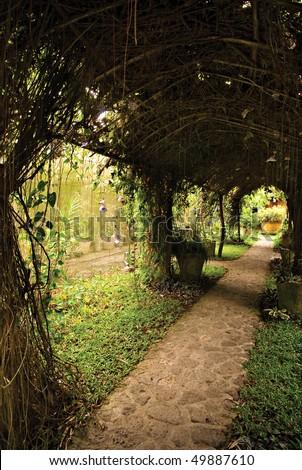 Arbor Trellis Pathway - stock photo