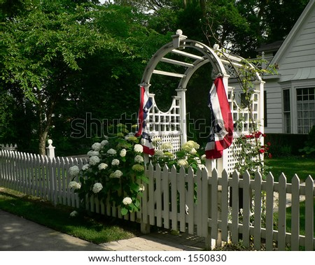 Arbor with red, white and blue bunting