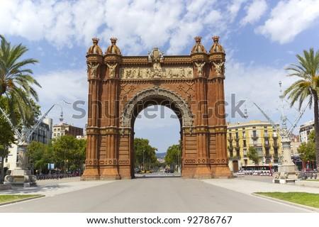 Arc de Triomph in Barcelona, Catalonia Spain - stock photo