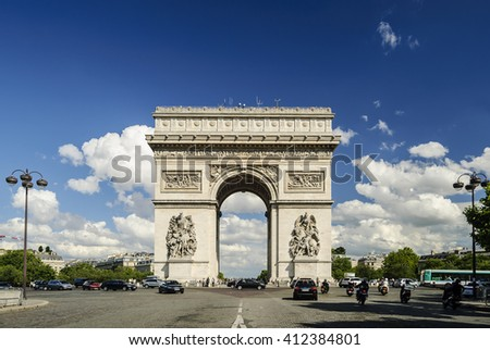 Arc de Triomphe against nice blue sky, Paris, France, Europe  - stock photo
