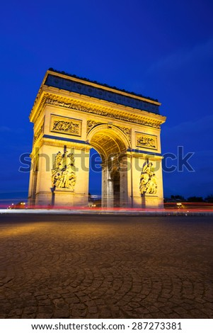 Arc de Triomphe at Night, Paris - stock photo