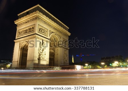 Arc De Triomphe At Night, Paris. - stock photo