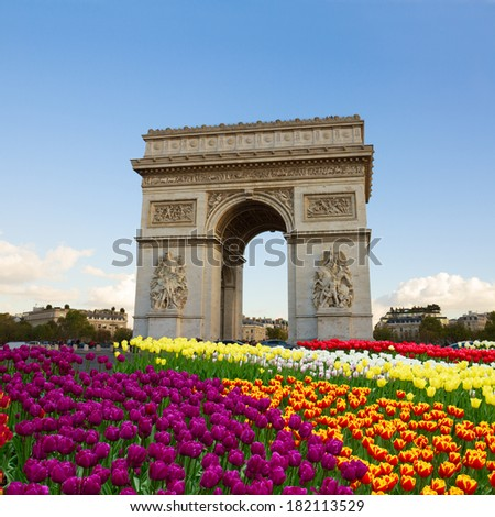 Arc de triomphe at spring day, Paris, France - stock photo