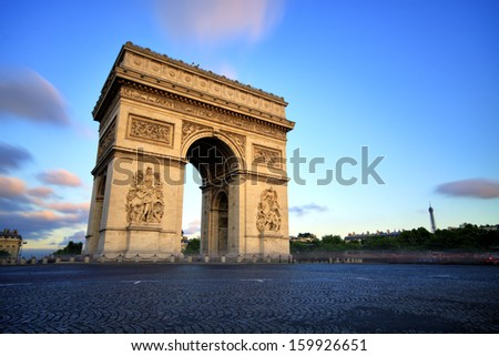 Arc de triomphe at Sunset, Paris - stock photo