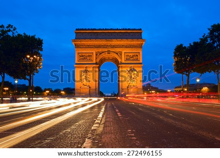 Arc de Triomphe at the Champs-Elysees in Paris, France - stock photo