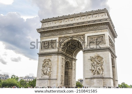 Arc de Triomphe de l'Etoile is one of the most famous monuments in Paris. Arc de Triomphe was built in 1806-1836 by architect Jean Shalgrenom by order of Napoleon to commemorate victories of his Army.