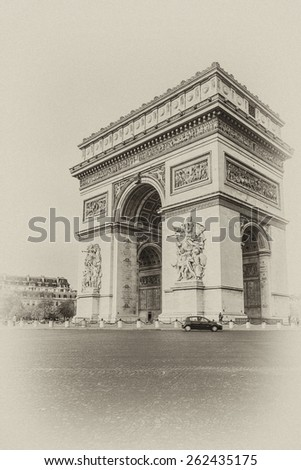 Arc de Triomphe de l'Etoile on Charles de Gaulle Place, Paris, France. Arc is one of the most famous monuments in Paris. Antique vintage.