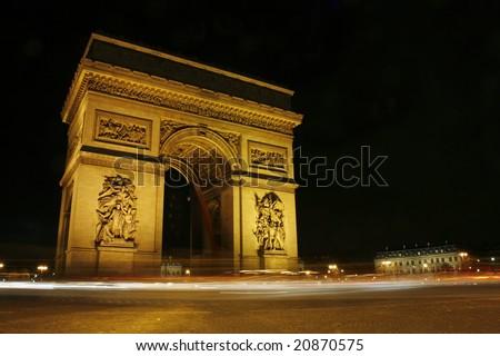 Arc de triomphe de nuit Champs Elysees Paris - stock photo