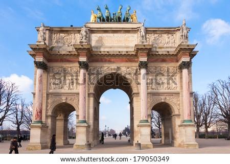 Arc de triomphe du carrousel in Paris - France - stock photo