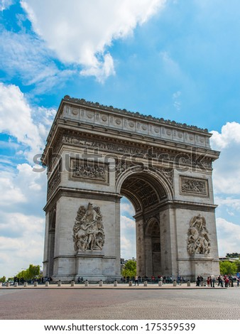 Arc de Triomphe in Paris - France. - stock photo