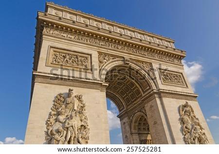 Arc de triomphe in the city of Paris, France - stock photo