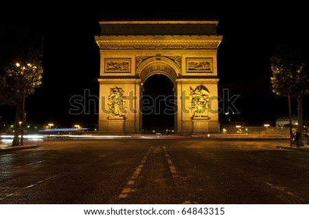 Arc de Triomphe,night Paris - stock photo