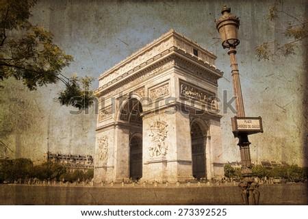 Arc de Triomphe, Paris, vintage textured sepia process - stock photo
