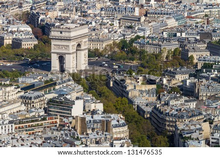Arc de Triomphe seen from Tour Eiffel - stock photo