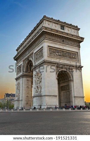 Arc de Triumph, in Paris - stock photo