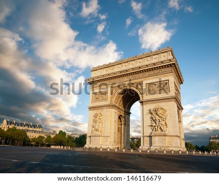 Arc de Triumph in Paris, France - stock photo