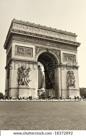 arc de triumph - sepia toned picture - stock photo