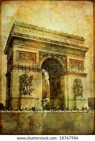 arc de triumph- vintage card (from my Parisian vintage series) - stock photo
