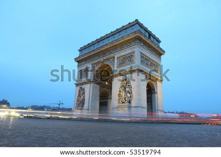 Arc in Paris Arc de triumph, the famous monument in Paris, France. - stock photo