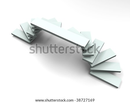 Arc ladder style podium - 3d image - side view - stock photo
