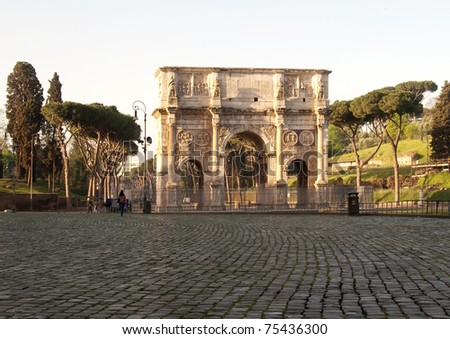 Arc of Constantine in Rome, Italy - stock photo