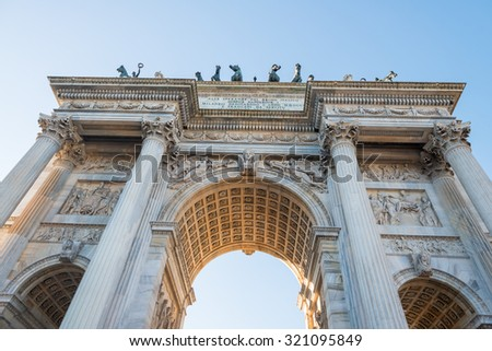 Arc of Peace in Milan. Milano, Arco della Pace. - stock photo