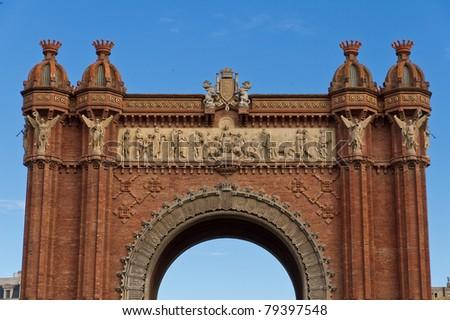Arc triumph of Barcelona Spain, having brick facade. - stock photo