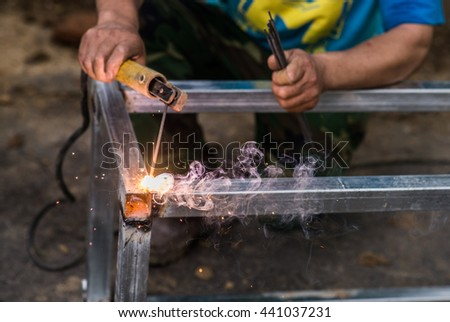 Arc welding of a steel at work site