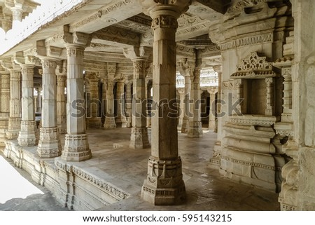 Arcade in famous Jain temple (Adinatha temple) in Ranakpur, Rajasthan, India