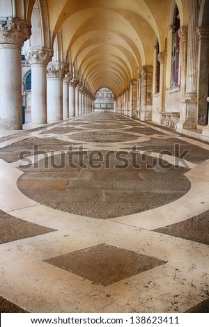 Arcades at Doge's Palace in Venice - stock photo